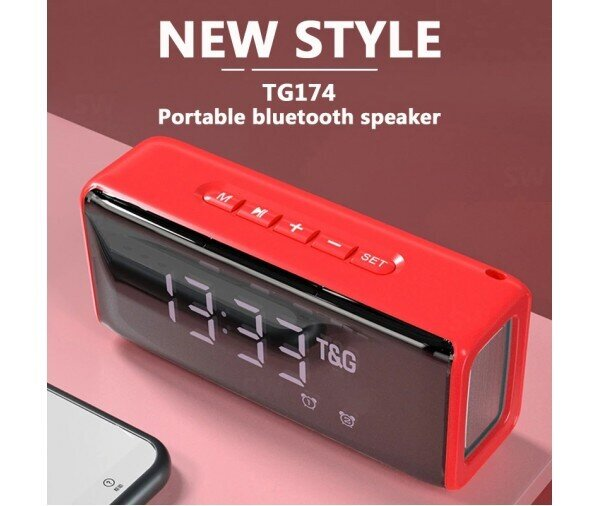 Преносима Bluetooth MP3 Колонка TG-174, Power Bank, Часовник